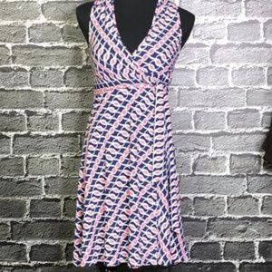 GUESS Pink Blue Jersey Knit Wrap Dress sz Med